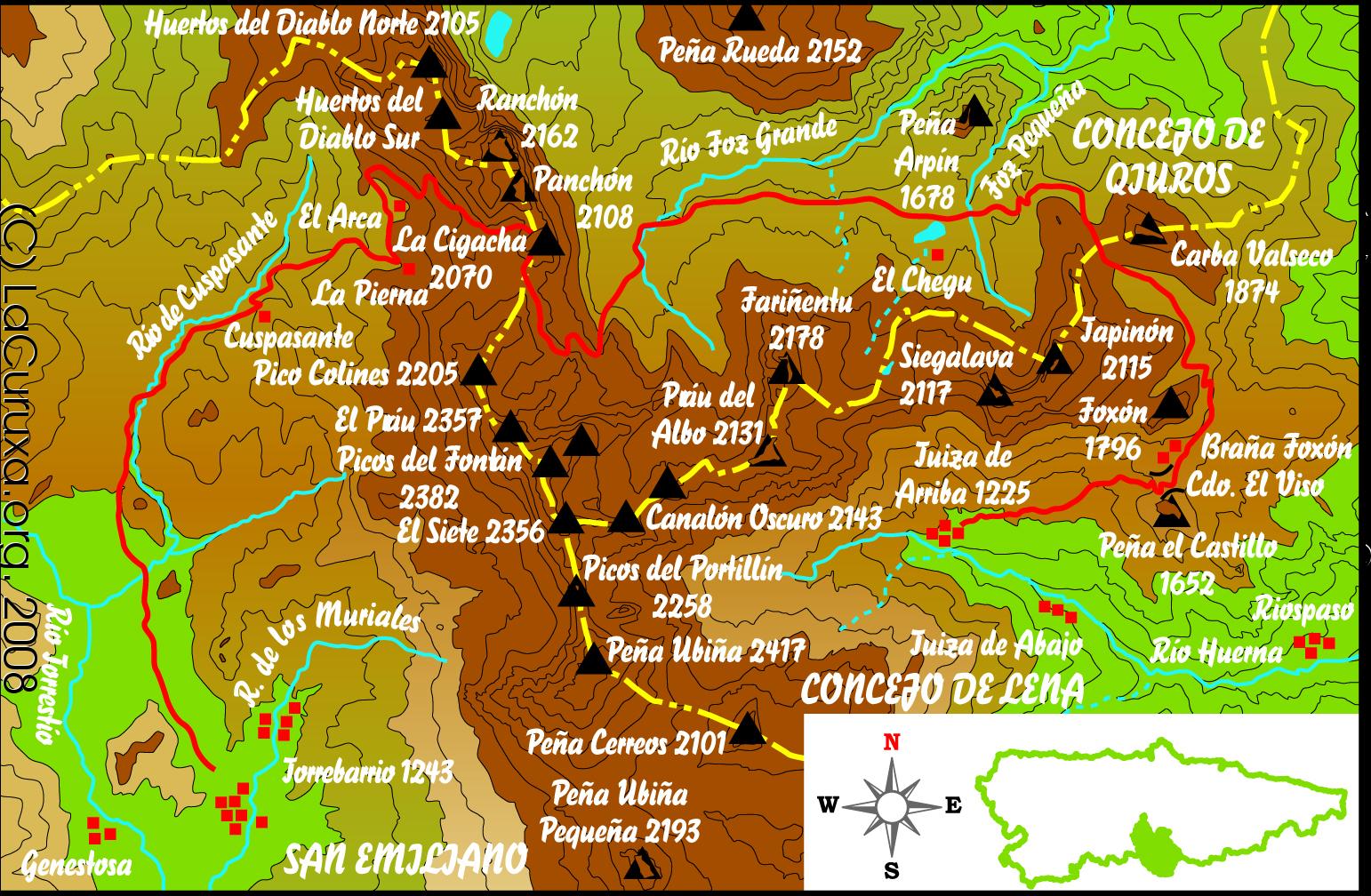 lacuruxa lacuruxa.org rutas mapas montaña 2008